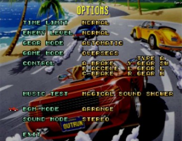 OutRun Options (Sega Saturn)