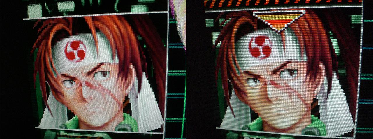 Giga Wing. Links ohne, rechts mit Scanlines.